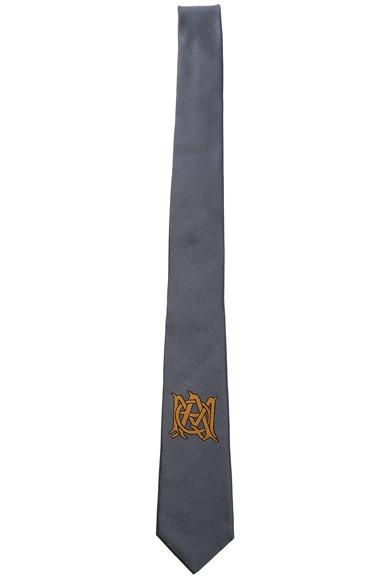 Alexander McQueen Logo Tie in Lead & Beige