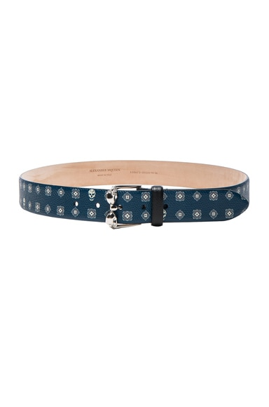 Alexander McQueen Double Buckle Skull Belt in Blue & White