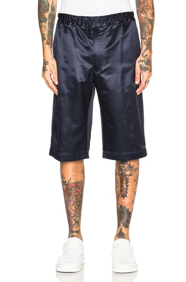 Alexander McQueen Satin Shorts in French Navy