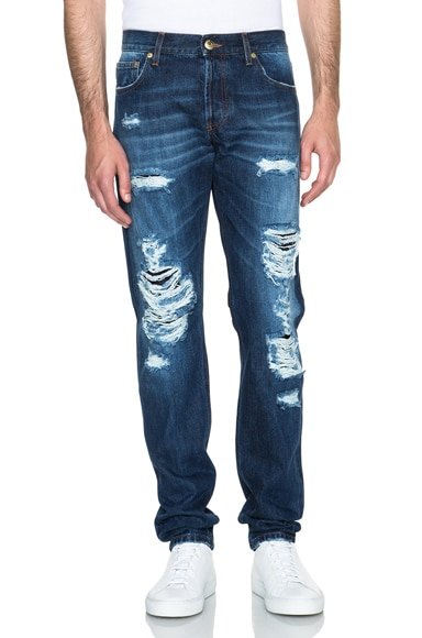 Alexander McQueen Destroyed Selvedge Jeans in Blue