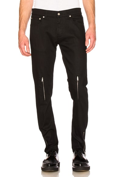 Alexander McQueen Zip Jeans in Black & New Tartan
