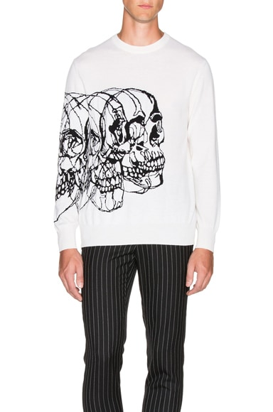 Alexander McQueen Wool Skull Sweater in Ivory & Black