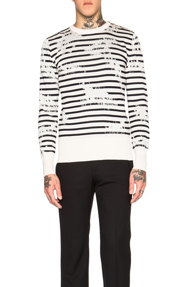 Alexander McQueen Bleached Stripe Print Sweater in Natural & Navy