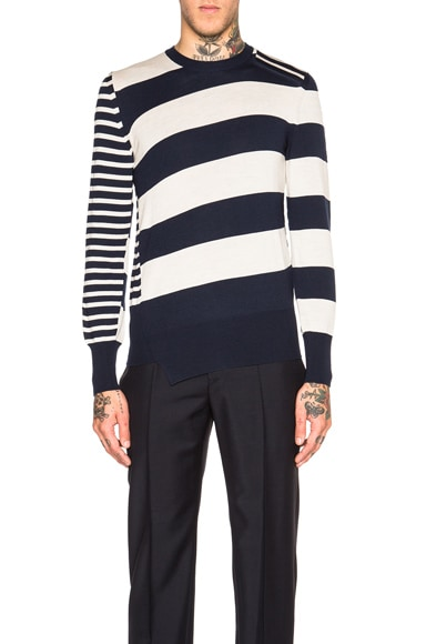 Alexander McQueen Striped Long Sleeve Sweater in Navy & Natural