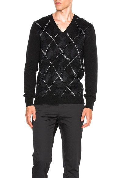 Alexander McQueen Criss Cross Embroidery Sweater in Black & Ivory