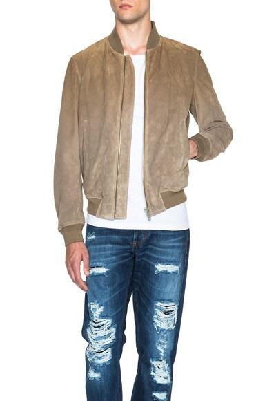 Alexander McQueen Degrade Suede Jacket in Brown & Beige
