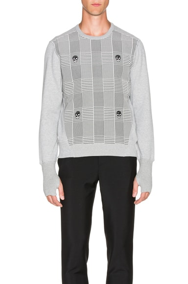 Alexander McQueen Houndstooth Sweatshirt in Pale Grey
