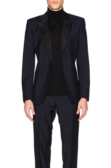 Alexander McQueen Satin Lapel Blazer in Navy Blue