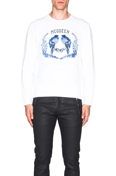 Alexander McQueen Bird Sweatshirt in White & Blue