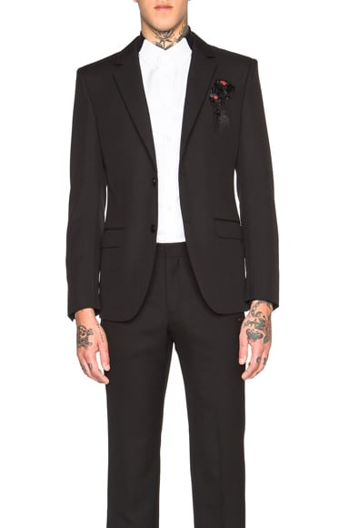 Alexander McQueen Dripping Flower Blazer in Black