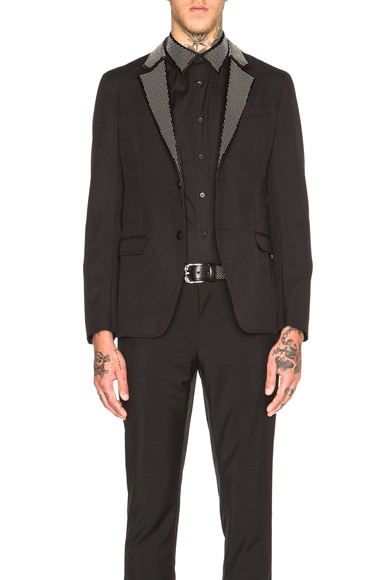 Alexander McQueen Studded Lapel Blazer in Black