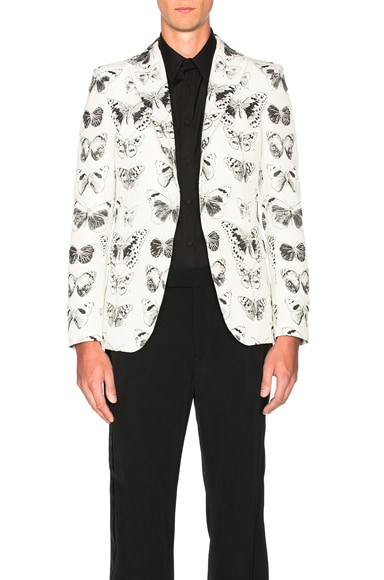 Alexander McQueen Moth Blazer in Cream & Black