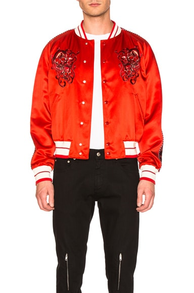 Alexander McQueen Embroidered Blouson in Vermillion Pink