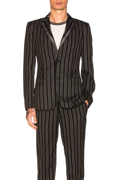 Alexander McQueen Stripe Wool Blazer in Black, Grey & Beige
