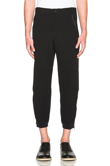 Alexander McQueen Crepe Zip Trousers in Black
