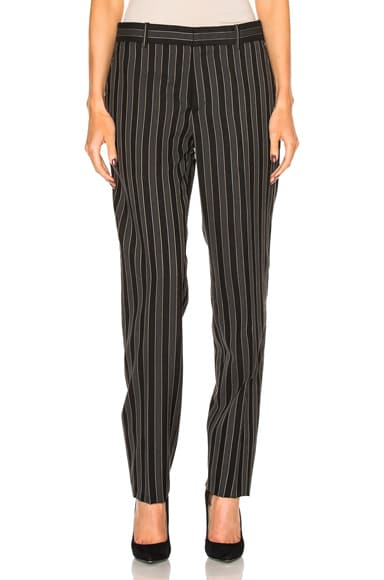 Alexander McQueen Stripe Wool Pant in Beige, Black & Gray