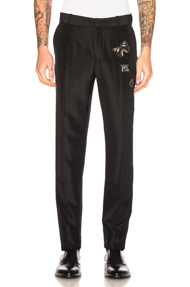 Alexander McQueen Embroidered Trousers in Black & Multi