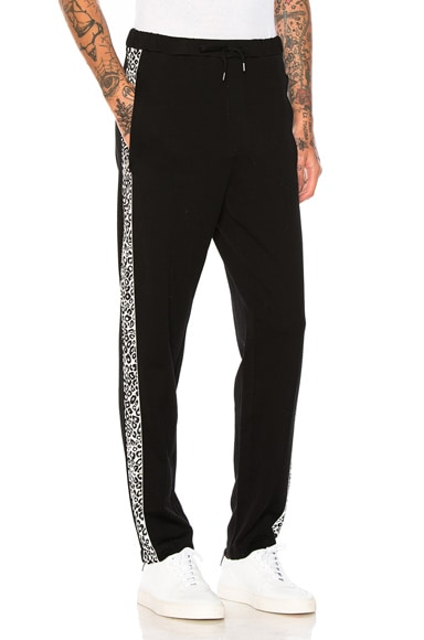 Alexander McQueen Leopard Printed Lounge Pants in Black