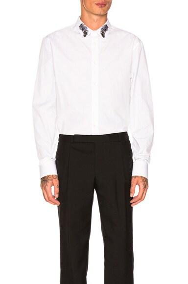 Plain Poplin Embellished Collar Shirt