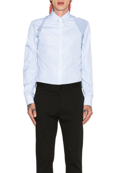 Alexander McQueen Contrast Harness Shirt in Blue & White