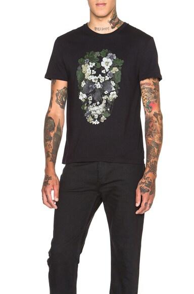 Alexander McQueen Floral Skull Graphic Tee in Black