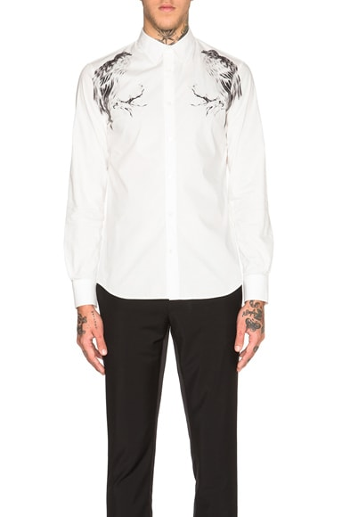 Alexander McQueen Bird Print Shirt in White & Black