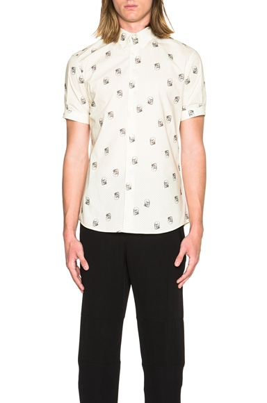 Alexander McQueen Short Sleeve Skull Shirt in Cream & Black