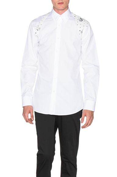 Alexander McQueen Harness Shirt in White & Blue
