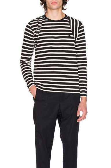 Alexander McQueen Long Sleeve Striped Shirt in Black & Ecru
