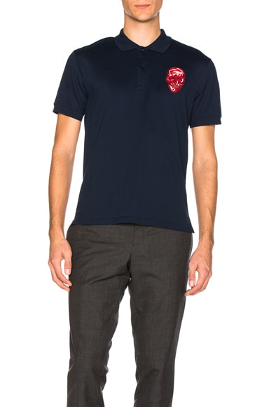 Alexander McQueen Skull Polo in Navy & Red