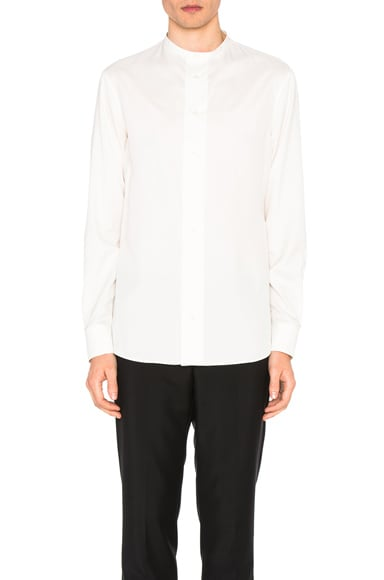 Alexander McQueen Collarless Silk Shirt in Ivory