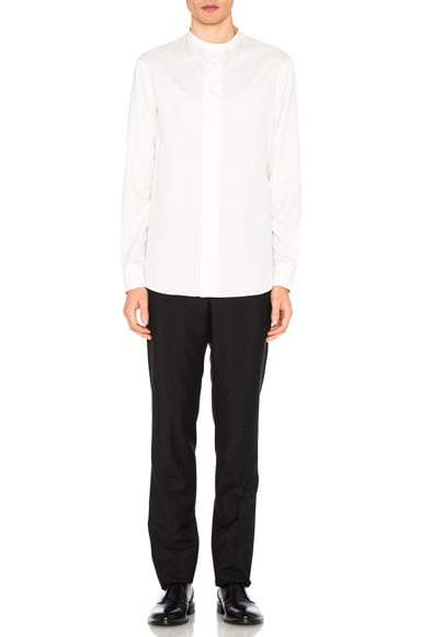 Collarless Silk Shirt