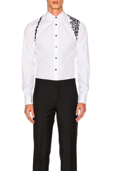 Alexander McQueen Harness Shirt in White & Grey