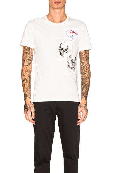 Alexander McQueen Printed Tee in Off White Multi