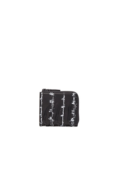 Alexander McQueen Barb Wire Print Rib Cage Zip Wallet in Black & White