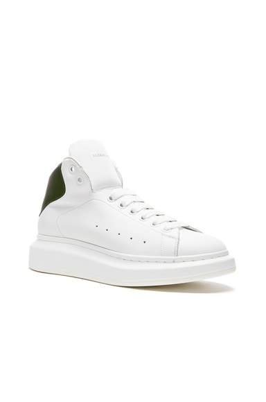Alexander McQueen Exaggerated Sole High Top Leather Sneakers in Bottle Green & White