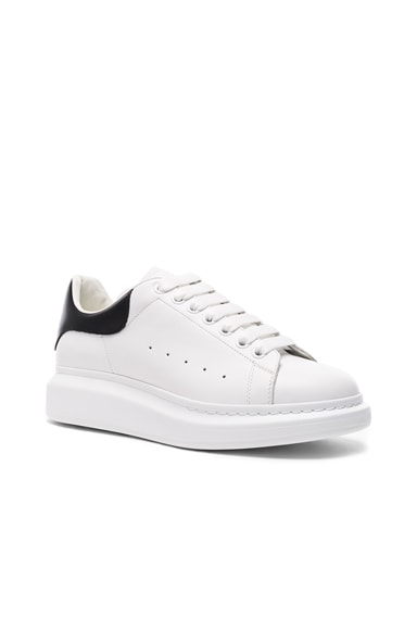 Alexander McQueen Croc Embossed Leather Sneakers in White