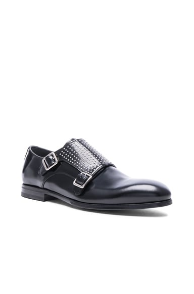 Alexander McQueen Studded Double Monkstrap Leather Shoes in Black