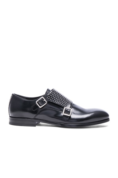 Studded Double Monkstrap Leather Shoes