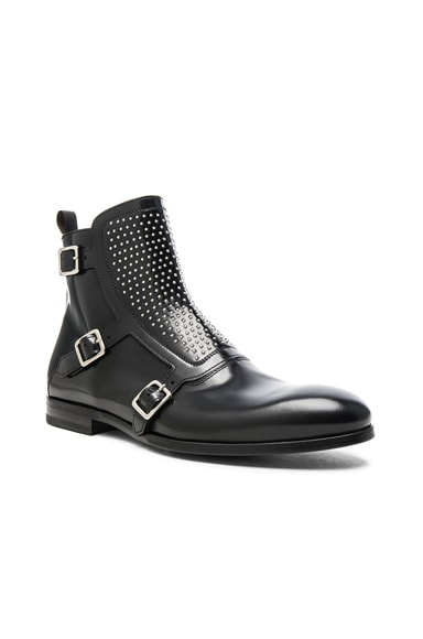 Alexander McQueen Studded Triple Monkstrap Leather Boots in Black