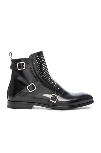 Studded Triple Monkstrap Leather Boots