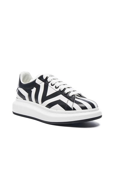 Alexander McQueen Striped Platform Sneakers in Black & White