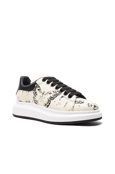 Moth Print Platform Leather Sneakers