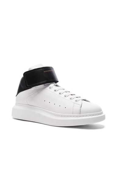 Alexander McQueen Strap Platform High Top Leather Sneakers in Black & White