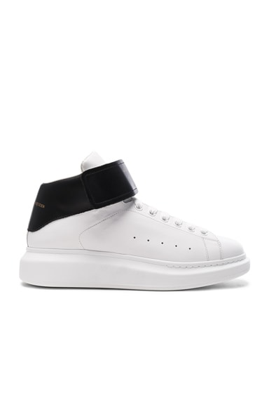 Strap Platform High Top Leather Sneakers