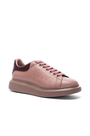 Alexander McQueen Leather Platform Low Top Sneakers in Mink & Oxblood
