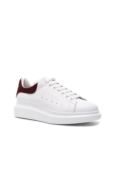 Alexander McQueen Leather Platform Low Top Sneakers in White & Red