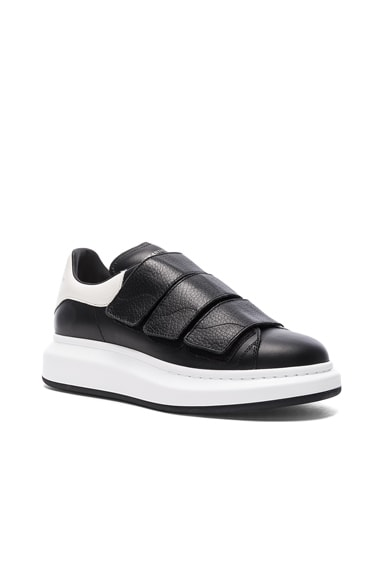 Alexander McQueen Leather Platform Velcro Sneakers in Black & White
