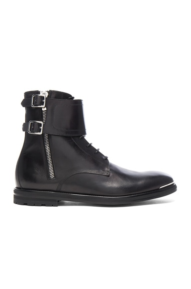 Strap Leather Combat Boots