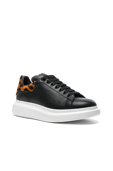 Alexander McQueen Leather Platform Sneakers With Calf Hair in Black & Brown
